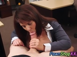 Amateur babe tit fucks and sucks cock in pawn shop office