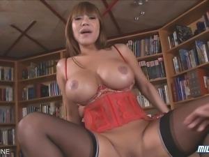 Busty Asian MILF Ava Devine sucks and fucks a hard cock!