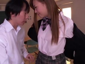 schoolgirl puts her feet in her teacher's mouth