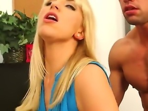Petite arousing and seductive blonde secretary Ashley Fires with long whorish...