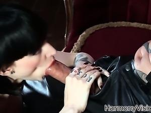 Kinky slut Sofia sucking a stud in leather pants
