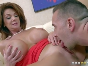 Horny mature woman Deauxma in sexy red dress bares her huge boobs and spreads...