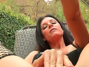 One of a kind black haired milf India Summer with pretty face in fishnet...
