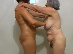 Chubby granny with milf fondling their privates