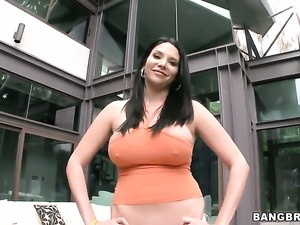 Latin Missy Martinez finds guy hot and takes his schlong in her hands eagerly