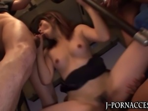 Cute japanese babe group fucking action