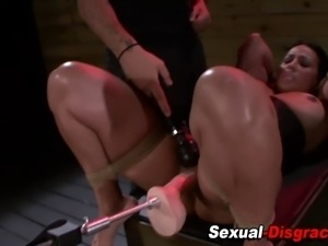 Bound slave deep throats dick and gets moist pussy toyed