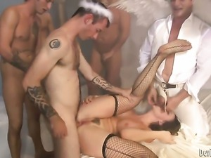 Wesley Pipes spends her sexual energy with Mark Daviss hard cock in her back...