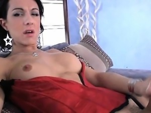 Slutty busty tranny shows off then jack off her huge boner