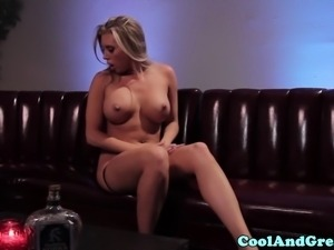 Exotic lesbian pleasuring blonde babe with enthusiasm