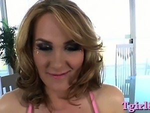 Pretty voluptuous blonde shemale blowjob then anal fucked