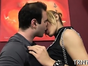 Nice lady-man works with her lips