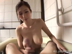 a wet titty fuck in the tub