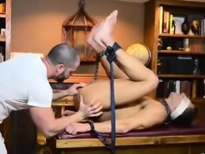Teen Mormon boy with older gay dude in office