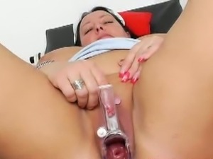 Nurse Robislava examines her own pussy