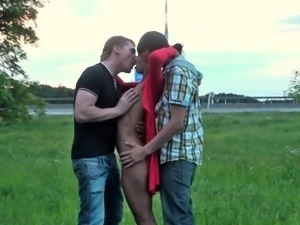Pretty teen girl PUBLIC gangbang by a highway Part 1