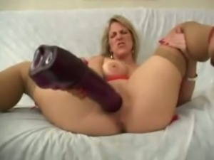 Busty whore Gabi and her big toy