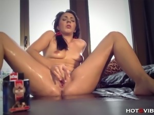 Pamela squirts as she toys her wet pussy