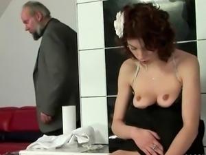 Cute redhead peeing and fucking a grandpa