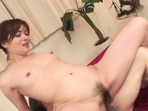 Provocative hairy japanese gets all of her holes filled