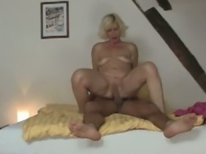 Mother-in-law rides her son-in-law's hard pecker