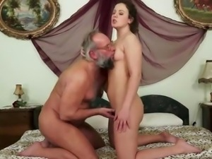 Grandpa and hairy girl enjoying nasty sex