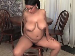 Chubby ebony Natalia caressing her wet black clit