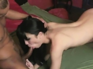 Shemale Sandy Lopes and her man blow each other