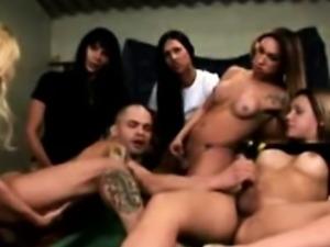 Shemale trannies orgy pound bloke