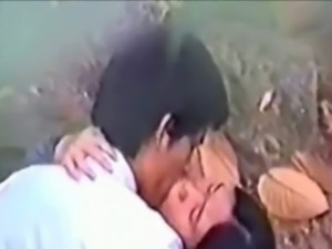 Horny asian couples sneak fuck in the forest