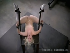 Thin Blonde Submissive In Device Bondage free
