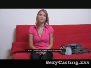 Casting - Teen with awesome tits gets a creampie surprise