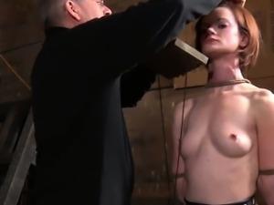 BDSM sub Hazel Hypnotic nipples clamped