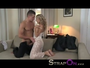 StrapOn Beautiful girl in white lace DP anal as BF wears cock ring strap on...