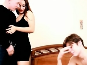 Helpless cuck gets to lick his hot wife\'s pink, another