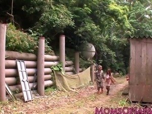Mature Hitomi Tanaka pounded outdoors