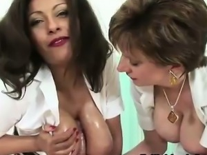 Busty british milf nurses milk cum