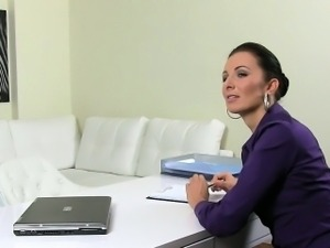 Female agent in stockings fucking on casting