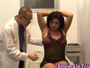 Tgirl gets cum swallowed