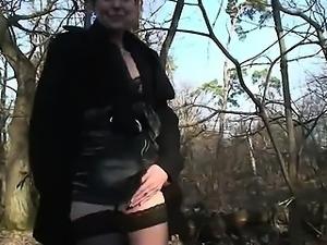 Mature Brigitte gangbanged in a forest