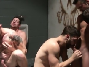 Pissing jock in restroom fucks until cumshot
