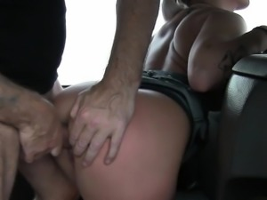 Nasty amateur blonde gives head and fucked by fake driver