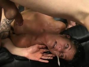 Vomit Covered Brunette Getting Her Face Destroyed