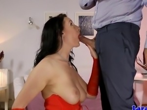 Classy mature stockings gets cum in ass