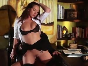Horny secretary rides in a hard bigcock