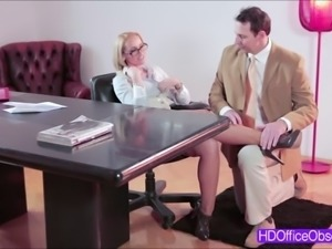 Damn blonde boss Kathia Nobili gets fuck hard by a huge