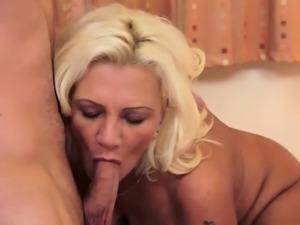 Busty wife sucking dick