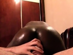 Hot ass African slut riding white large cock