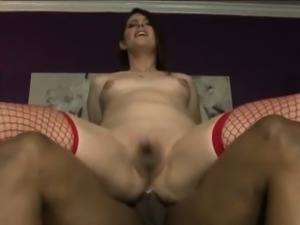 Lovely tranny Amy Daly in stockings anal banged hard on sofa
