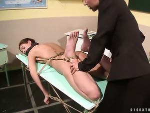 Blonde Betty Stylle loses control in lesbian frenzy with Nikky Thorne
